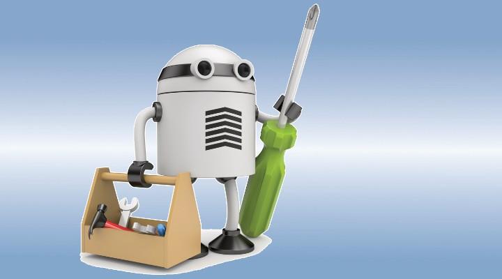 Roboter Assistent mit Werkzeugkiste