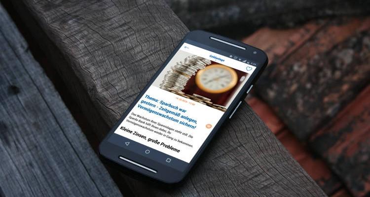 Blog App auf Mobilgerät
